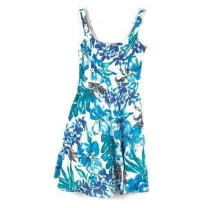 Lauren RL   6   White Blue Floral Linen Dress